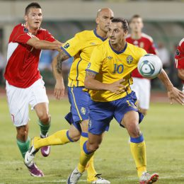 Budapest, Hungary - September 2, 2011: Swedish Zlatan Ibrahimovic (10) and Daniel Majstorovic (M), Hungarian Adam Pinter (L) during Hungary vs. Sweden (2:1) UEFA Euro 2012 qualifying game at Puskas Stadium on September 2, 2011 in Budapest,